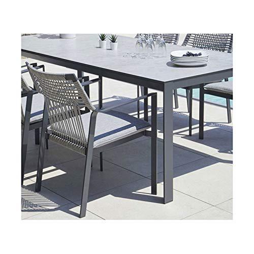 Ozalide - Sillón para mesa de jardín apilable, diseño de malla, color gris