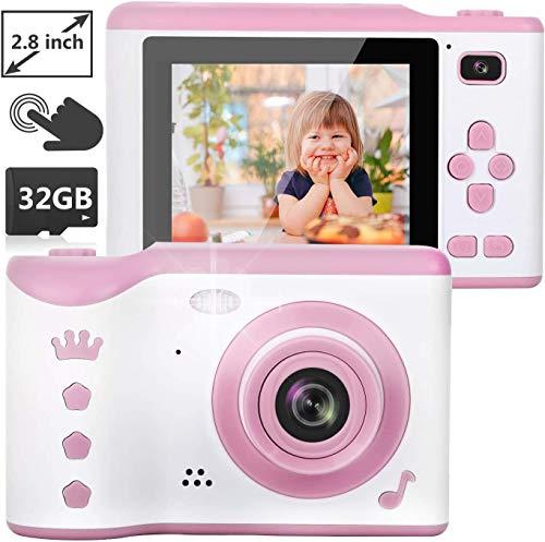 """NEXGADGET Cámaras Digitales para Niños Cámara de Fotos 8.0 MP con Pantalla Táctil de 2.8"""", Cámara Selfie con 32GB Tarjeta TF/Foto/Video/Marco/Filtro, Mini Video Cámara para Niños de 3 a 12 Años (Rosa)"""