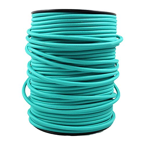 smartect Cavo elettrico Tessuto - Turchese - 50 Metro cavo tessile intessuto - Tripolare (3 x 0.75mm²) - Cavo elettrico rivestito per Fai da Te