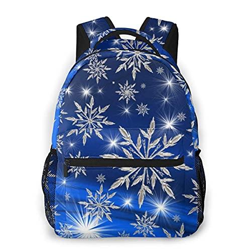 Lawenp Mochila Unisex de Moda Copos de Nieve Azules Patrón de Hojas Mochila Ligera para portátil para Viajes Escolares Acampar al Aire Libre