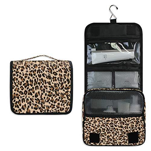 funnyy Trousse de toilette à suspendre avec motif léopard - Sac de toilette de voyage - Pour produits cosmétiques, accessoires de maquillage - Pour femmes et filles - Étanche - Cadeau idéal