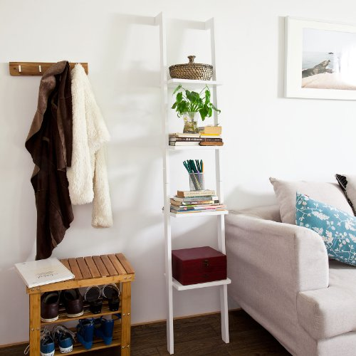 Haotian FRG15-W,White Modern Ladder Bookcase Made of Wood, Book Shelf,Stand Shelf, Wall Shelf