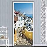 NXCNTD Etiqueta De La Puerta 3D Paisaje arquitectónico costero Murales Vinilo Impermeable Papel Tapiz Carteles Pegatinas de Pared Para Dormitorio, cuarto de niños, arte moderno Decoraciones 77x200cm