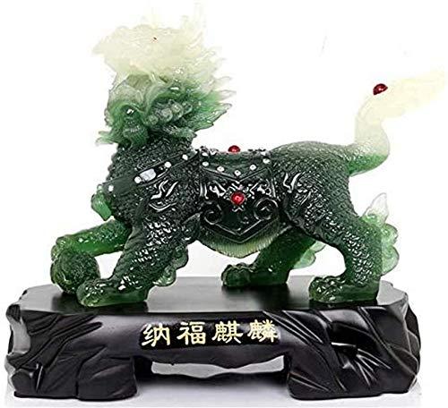 FGVBC Decoración de estatuas de Feng Shui Qi Lin/Chi Lin Kylin Chino, decoración del hogar Giftttract Riqueza y decoración de Adornos de Buena Suerte