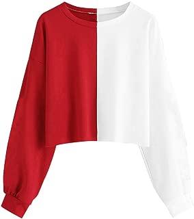 Eaktool Crop Hoodies for Teen Girls, Womens Letter Print Splice Cute Sweatshirts Cool Camouflage Stripe Pullover Coat