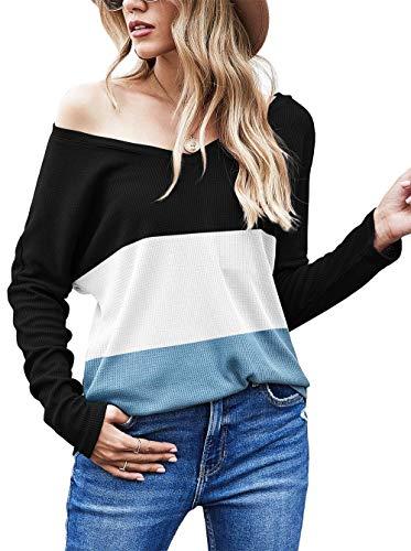 Odosalii Strickpullover Damen Pullover V Ausschnitt Sexy Oberteil Schulterfrei Langarmshirt Tops (Patchwork blau, Medium)