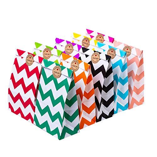 50 cadeautasjes met 54 thank you-stickers, feestelijke papieren tasjes met hengsel (#11, 50 stuks)