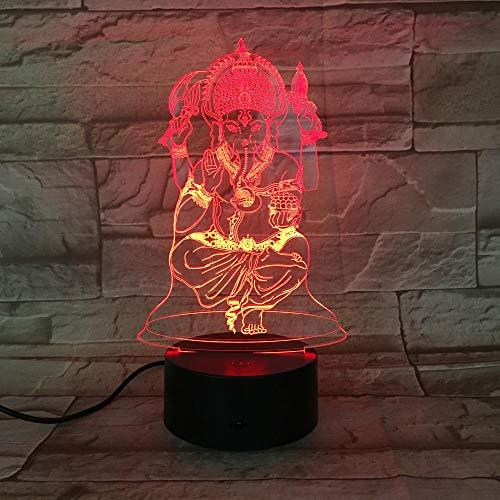 3D Luz Nocturna Led LED Luz de Noche Hindu cast feelings decoración de dormitorio regalo lámpara de noche creativa regalo Con interfaz USB, cambio de color colorido