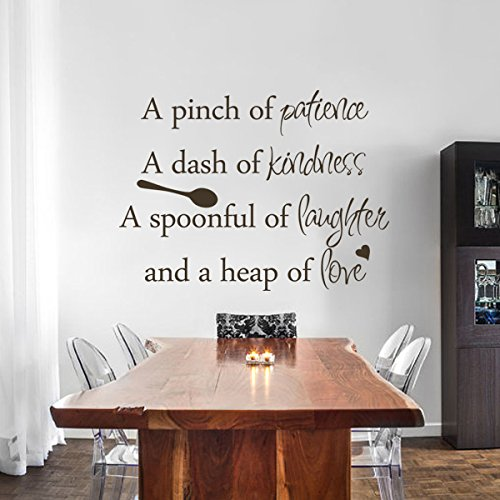 Inspirational Wall Sticker Quotes Words Art Removable Kitchen Dining Room Wall Decal Sticker Mural Vinyl Home Decor A Pinch of Patience,A Dash of Kindness.£¨Small,Black£