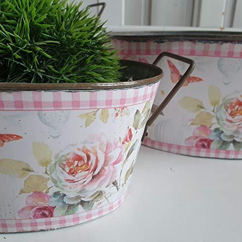 Deko Schalen Zink Landhaus Shabby Chic 3 er Set Rosen rosa