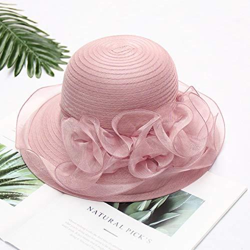 DYWSGA Sombrero de sol de las señoras con grandes aleros, sombrero de sol de rhinestone de flor de verano, sombrero de boda de fiesta de té perfumado, elegante personalidad con sombrero de sol en prim