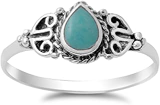 CHOOSE YOUR COLOR Sterling Silver Teardrop Ring