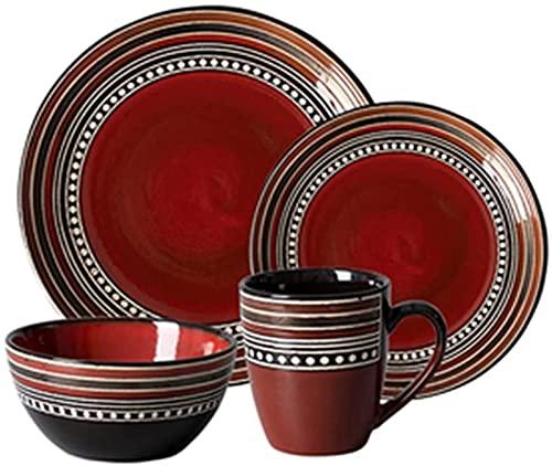 Juego de vajilla, juegos de vajilla de 4 piezas, juego de vajilla de porcelana retro con platos, cuencos y tazas, juego de vajilla de cerámica roja para la cocina y el comedor del hogar, apto para mic