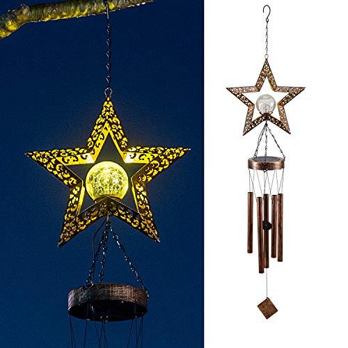 LeiDrail Solar Windspiele für Draußen Star Hanging Knistern Glaskugel Warmweiße LED Leuchten mit Metall Röhren Wasserdicht für Garten Patio Gartenterrasse Hinterhof Dekoration Memorial Geschenk