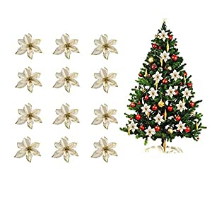 BADIQI Christmas Tree Decorative Silk Flower Gold 24 Pack 5.1Inch Glitter Poinsettia Artificial Silk Flowers Picks Ornaments.for Christmas Tree Wreaths Garland Holiday Decoration