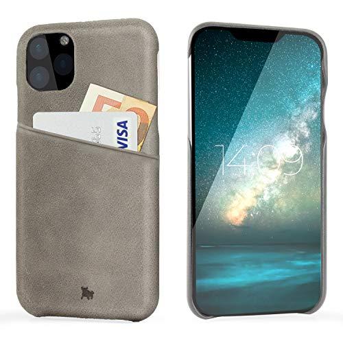 BULLAZO Menor Urban – kompatibel mit iPhone 11 / XI Hülle Schutzhülle Handy Hülle mit Kartenfach aus Leder grau 6,1