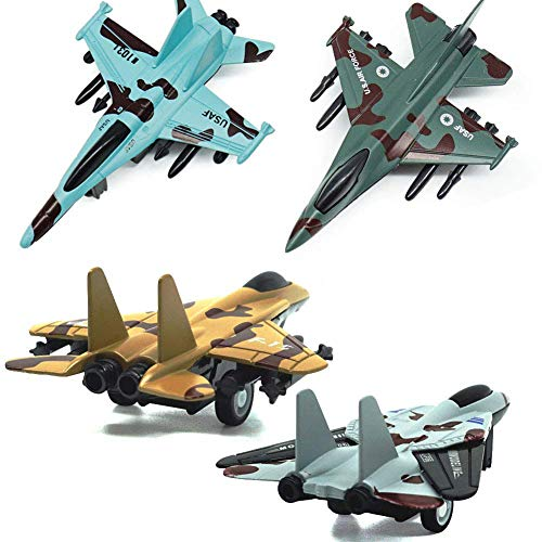 UiiQ Pull Back Airplane Toy Set Die Cast Metal Military Themed Fighter Jets, Good for Kids Toy Set Collection - 4 Pcs (Blue)