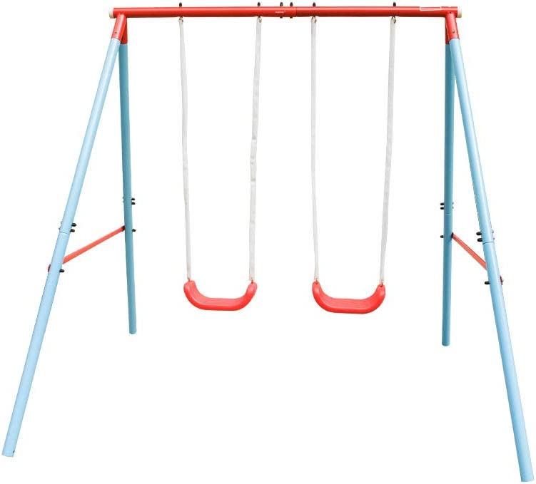 HaoKang Kid's Swing Set with Steel Frame and Two Swings for Chil