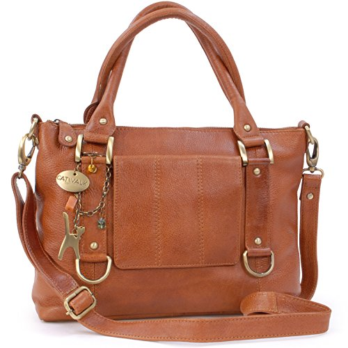 Catwalk Collection Handbags - Women's Leather Top Handle/Shoulder Bag/Cross Body With Detachable Strap - Photo ID Window/Travel Pass Holder - GALLERY - Tan