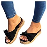 Sandals for Women Flat,Women's 2020 Bow Knot Comfy Platform Sandal Shoes Summer Beach Travel Fashion Slipper Flip Flops