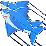 ZWWZ Cometa de tiburón Volador Simple para niños y Adultos,guía y Mango de Cometa,Grandes Juegos al Aire Libre para niños,Juguetes de Actividad en la Playa