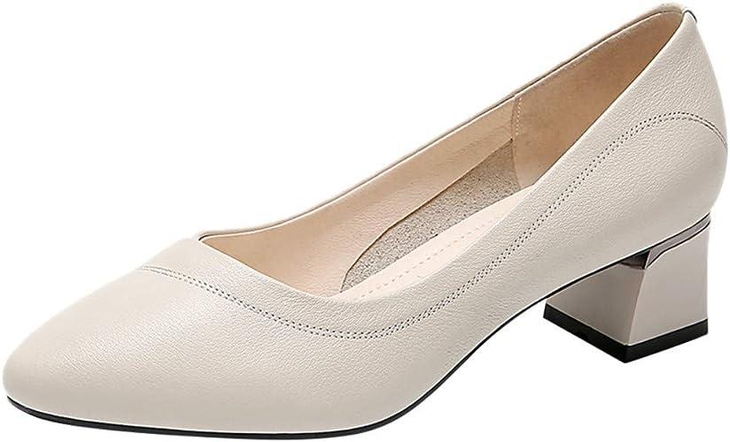 AJUNR Femmes Loisirs Le Printemps Nouveau Style Les Femmes Les Loisirs Le Cuir Baitao Petites Chaussures en Cuir Version Coréenne 4.5Cm Chaussures