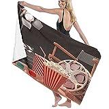 DJNGN Toalla de arena Toalla de baño Teatro de películas Old Fashion Industria cinematográfica Objetos de entretenimiento de movimiento de Hollywood Cine, secado rápido, alta absorción, toalla de baño