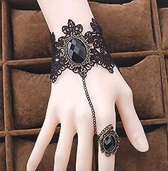 Daimay Black Choker Lace Necklace with Bracelet Set Punk Party Gothic Vintage Handmade Lolita Retro Slave Bracelet Wristband for Women - Style 4 #1