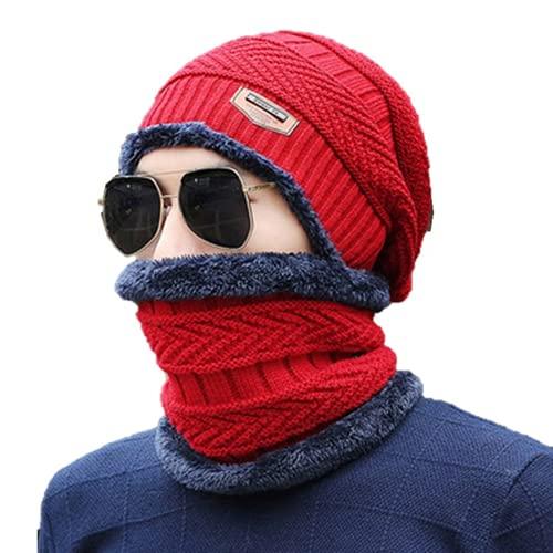 2Pcs Winter Warm Beanie and Hat Scarf Set Neck Warmer Stretch Warm Fleece Lining Knit Skullies Hat for Men School Outdoor (Red)