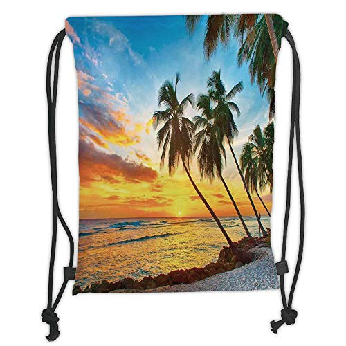 Fevthmii Drawstring Backpacks Bags,Ocean,Fairy Sunset Over The Sea with The Palms on The Beach at a Caribbean Island in Barbados Horizon,Multi Soft Satin,5 Liter Capacity,Adjustable String ✅