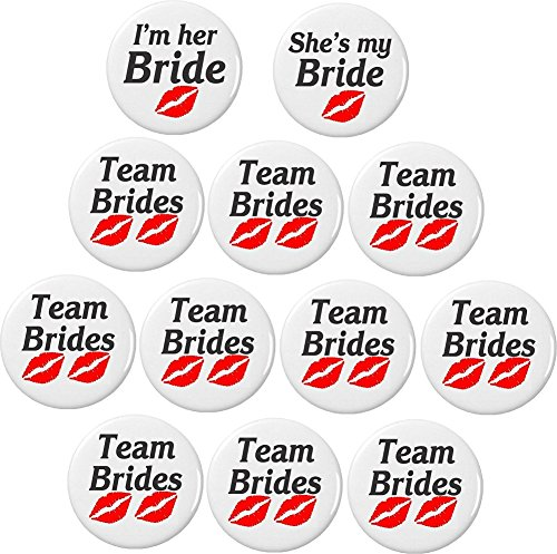 Set 12 I'm Her / She's My / Team Bride (Red Lips) Lesbian Bachelorette Party 2.25' Bottle Openers