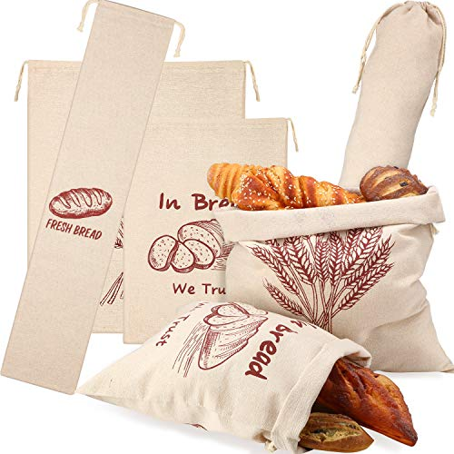 6 Pieces Linen Bread Bags Large and Extra Large Natural Unbleached Bread Bags Drawstring Bread Storage Bags Reusable Linen Bag Print Grocery Bags for Food Storage Loaf Homemade Bread, 3 Sizes