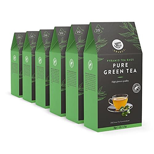 Amazon-Marke: Happy Belly Select Grüner Tee Pur, Teebeutel, 6 x 20 Pyramiden-Beutel
