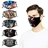 5PCS Face Cover Mask with 10 Filters Star-Wars Reusable Adjustable Washables for Men Women Adults
