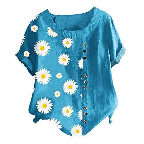 MOTOCO Damen Modisch Bedrucktes T-Shirt Lässige Lose O-Ausschnitt Kurzarm Tops Bluse Übergröße(5XL.Blau-1)