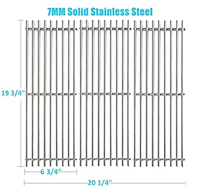 """BBQration 3-Pack SS6505A 19 3/4"""" Solid Stainless Steel Cooking Grid Grates Replacement for Chargriller 2222 2828 3001 3008 3030 4000 5050 5252 5650, King Griller 3008 5252, and More"""