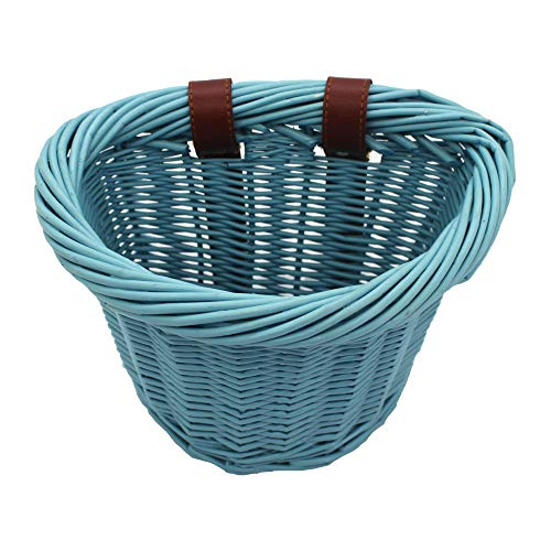 KINGWILLOW Bike Basket, Little Box Made by Willow for Bicycle, Arts and Crafts. (Blue)