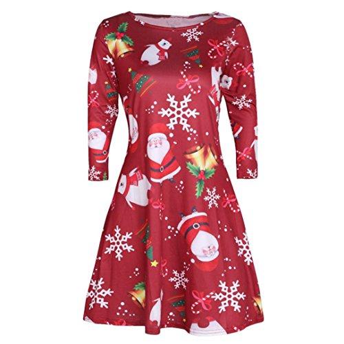 URSING_Damen Xmas Weihnachten Weihnachtsmann Skater Schneemann Swing Kleid Weihnachtskostüm Weihnachtskleid Abendkleider Retro Übergröße Cocktailkleid Partykleider Festlicher Kleider (D, M)