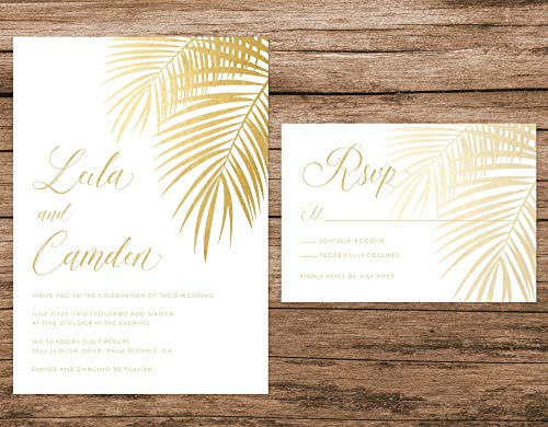 Tropical Wedding Invitation, Gold Palm Leaves Wedding Invitation, Gold Wedding Invitation, Destination Beach Wedding