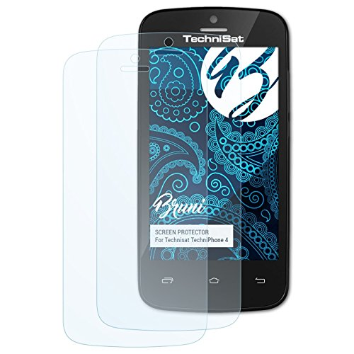 Bruni Schutzfolie kompatibel mit Technisat TechniPhone 4 Folie, glasklare Displayschutzfolie (2X)