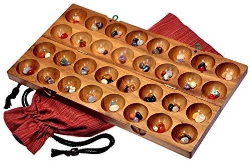 LOGOPLAY 85 Hus - Bao - Kalaha - Bohnenspiel - Muschelspiel - Edelsteinspiel aus Samena-Holz inkl. Edelsteinen und Stoffbeutel