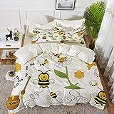 ropa de cama - Juego de funda nórdica, decoración de collage, abejas voladoras, margarita, miel, flores de manzanilla, polen, estampado animal de primavera, grito, funda de edredón de microfibra hipoa