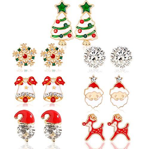 HOWAF 7 Pares Pendientes Navidad para Mujer Niña Navidad Regalo Maquillaje Accesorios Decoraciones Artículo, Árbol de Navidad Sombrero de Papa Noel Reno Copo de Nieve Cascabel Pendientes aretes