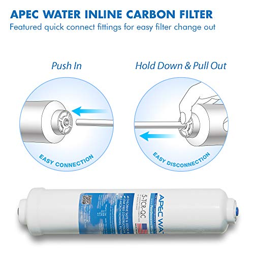 """APEC 5-TCR-QC US MADE 10"""" Inline Carbon Filter with ¼"""" Quick Connect For Reverse Osmosis Water Filter System (For Standard System)"""