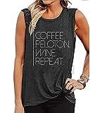 FCHICH Peloton Shirt Tank Tops Women Coffee Peloton Wine Repeat Muscle Tank Top Funny Letter Print Sleeveless Shirts (S, Gray)