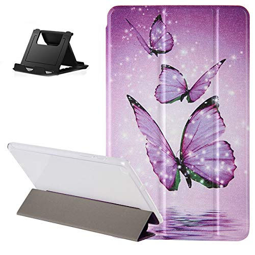 Shinyzone Case for Samsung Galaxy Tab A 10.1 2019 T510/T515,Tri Fold Viewing/Typing Stand Mode Smart Cover with Auto Sleep/Wake,Purple Butterfly Pattern Design Leather Flip Transparent Back Case