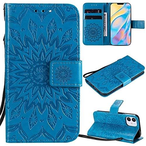 JDDRCASE Caja Protectora de la Cuerda de Seguridad Girasol diseño de la impresión de la PU del tirón del Cuero de la Carpeta for iPhone 12 (6.1 Pulgadas, cámaras duales) (Color : Azul)