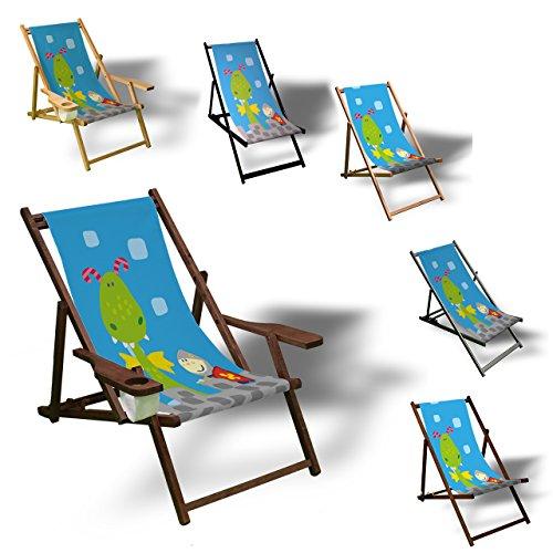Printalio - Ritter - Liegestuhl Bedruckt Balkon Garten Sonnenliege Relax Holz Terrasse   Kinderliegestuhl, Dunkelbraun
