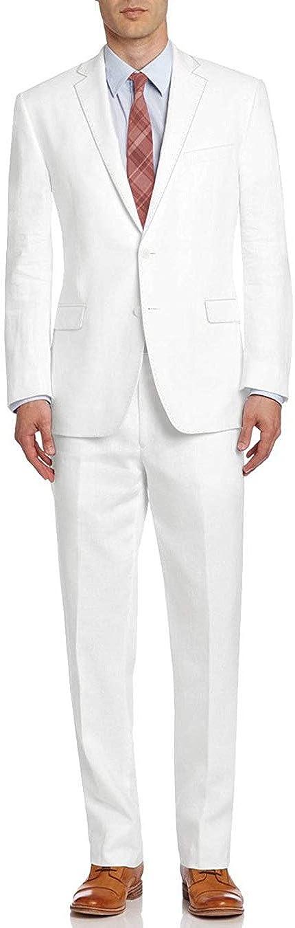 DTI BB Signature Italian Men's Two Button Linen Suit Modern Fit Jacket 2 Piece