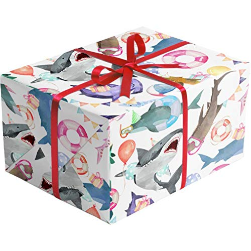Product Image 3: Colors of Rainbow – Shark Party – Gift Wrap Paper, 2.5 Feet x 10 Feet, Folded Flat, Not Rolled – Shark Party